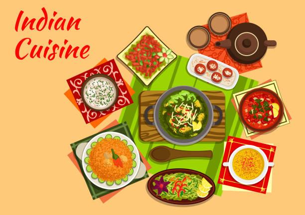 Indian cuisine menu with dishes and desserts - ilustración de arte vectorial