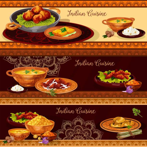 ilustraciones, imágenes clip art, dibujos animados e iconos de stock de bandera de restaurante de cocina india thali diseño - comida india