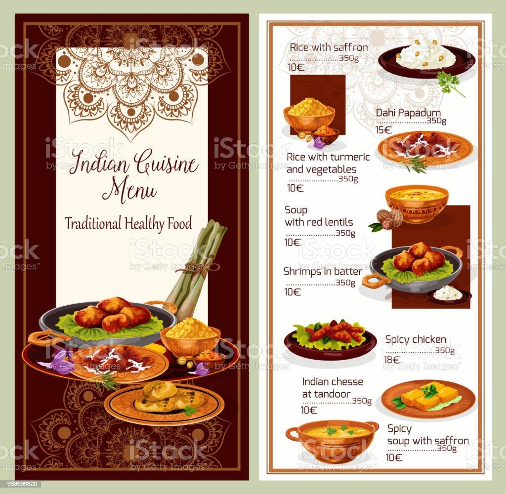 indisk mat meny