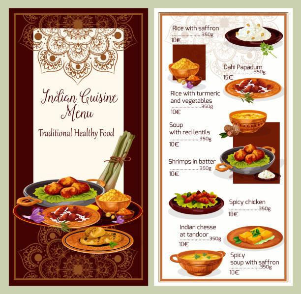 ilustraciones, imágenes clip art, dibujos animados e iconos de stock de diseño de plantillas de menú de restaurante de cocina india - comida india