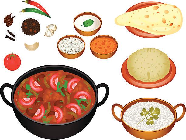 Indian Cuisine Rogan Josh Illustration of Indian Cuisine serving dish stock illustrations