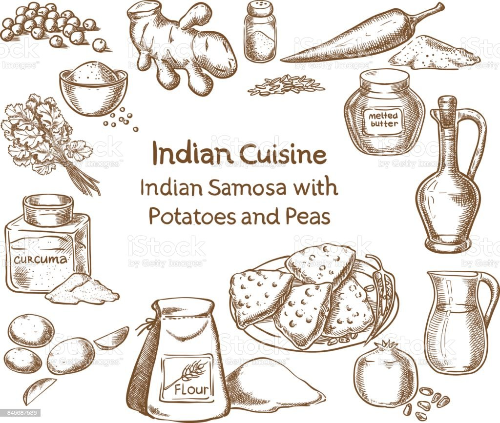 Cuisine indienne Samosa aux pommes de terre et petits pois ingrédients - Illustration vectorielle