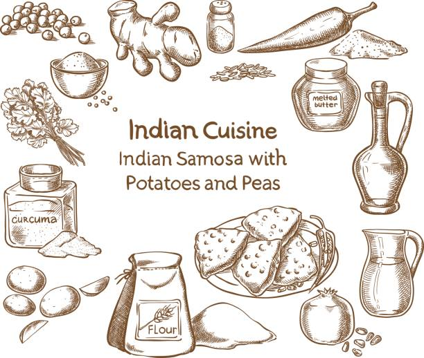indian cuisine samosa with potatoes and peas ingredients - indian food stock illustrations, clip art, cartoons, & icons