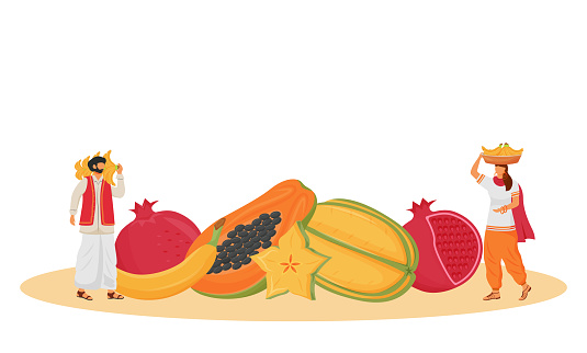 Indian cuisine, served tropical fruits flat concept vector illustration. Indian servants, people carrying bananas 2D cartoon character for web design. Exotic greens serving creative idea