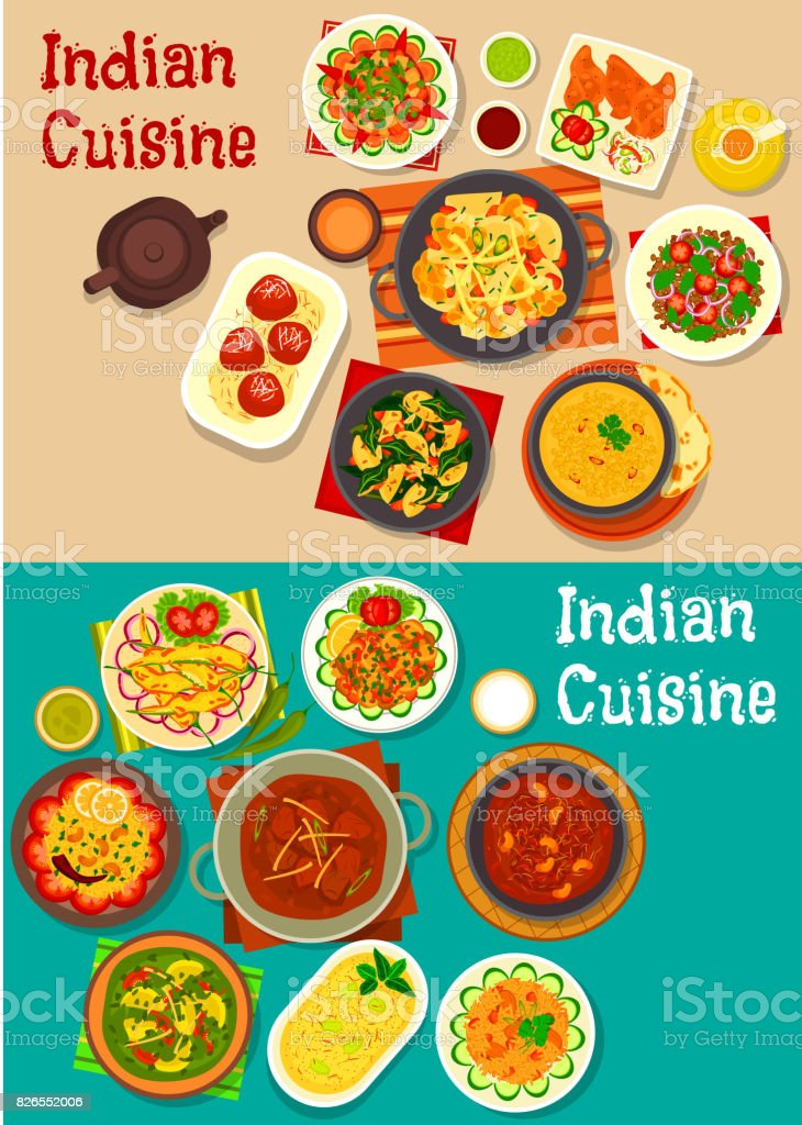 Icone De Diner Traditionnel De La Cuisine Indienne Cliparts