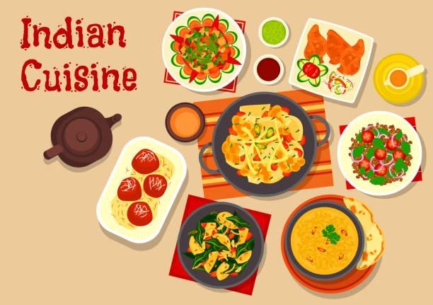 Indian cuisine vegetarian dinner dishes icon - ilustración de arte vectorial