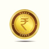 Indian Currency Sign Gold Coin Vector Icon