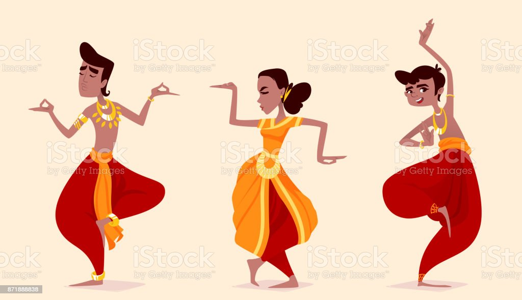 Indian dancers in the posture of Indian dance. vector art illustration