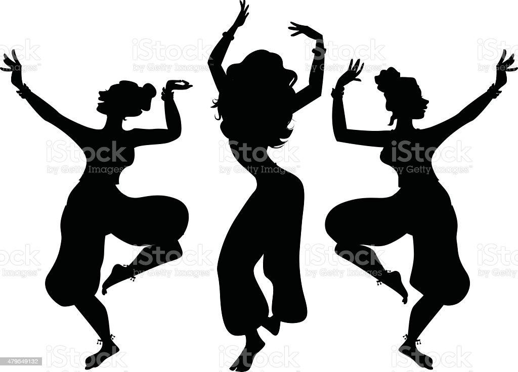 Indian dancers vector art illustration