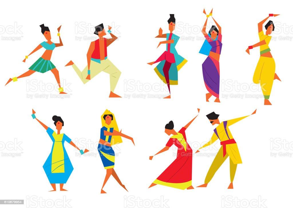 Indian dancers vector illustration vector art illustration