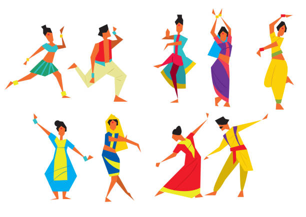 Indian Bollywood Couple Dancing Vector Stock Vector ... |Bollywood Dancer Clipart
