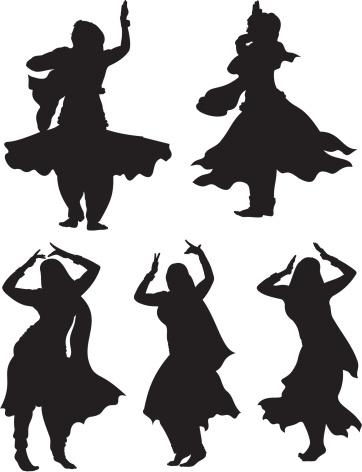 Indian Dancing Silhouette
