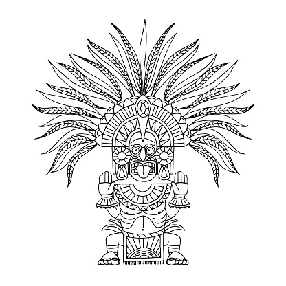 indian decorative totem, aztec god in feathered crown, shaman in mask