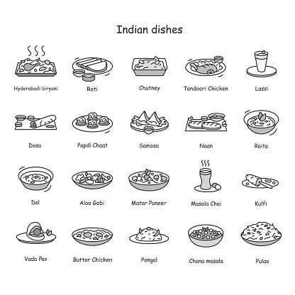 Indian dishes line icons set. Traditional Indian meals and drinks.