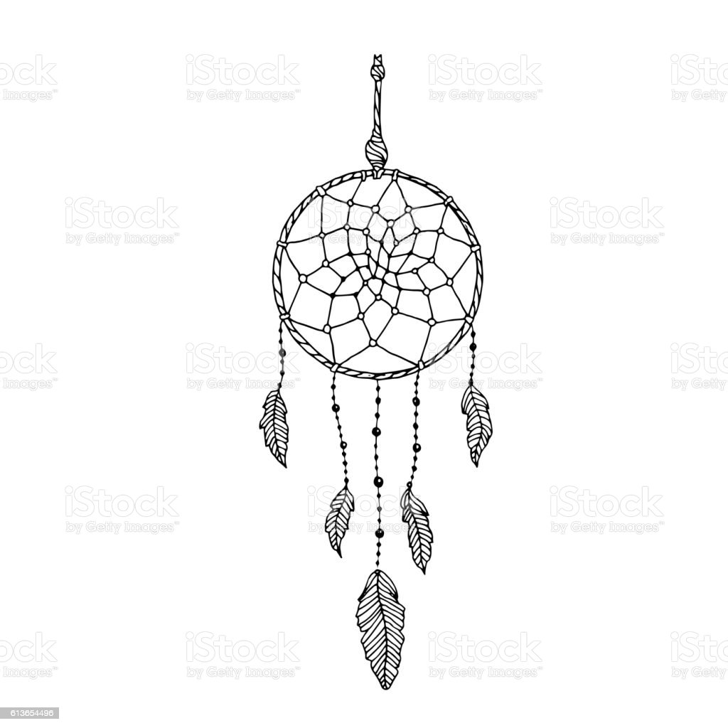 Indian Dream catcher, black and white ethnic graphic element - Illustration vectorielle