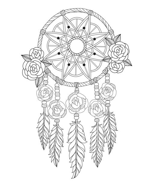 Indian dream catcher line art illustration. Black and white line art vector illustration was made in eps 10. Can be used for adult coloring book. dreamcatcher stock illustrations