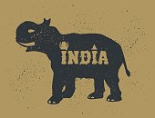 """Indian Elephant. Grunge Style with Ink splashes texture. Black Silhouette with lettering """"India"""". Hand Drawn illustration on Animals theme."""