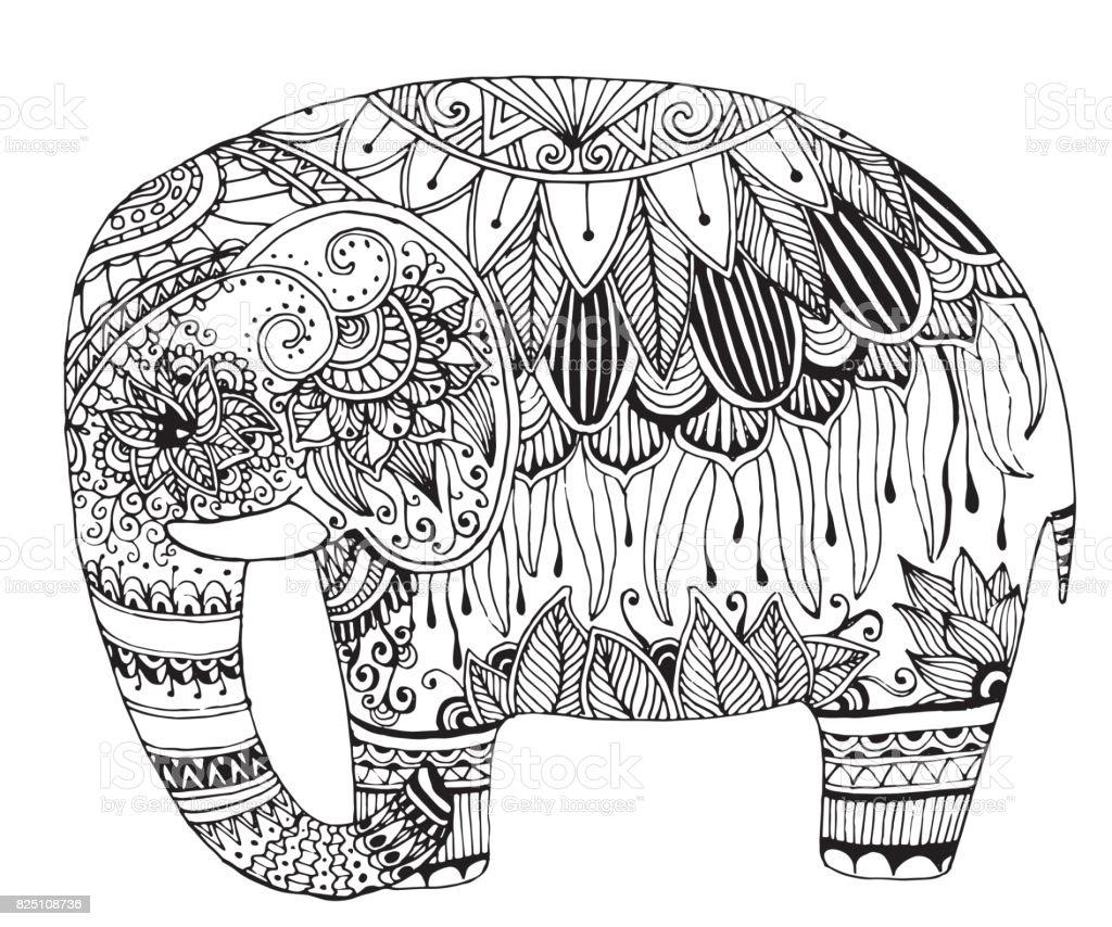indian elephant in style mihendi on a white background ornamental
