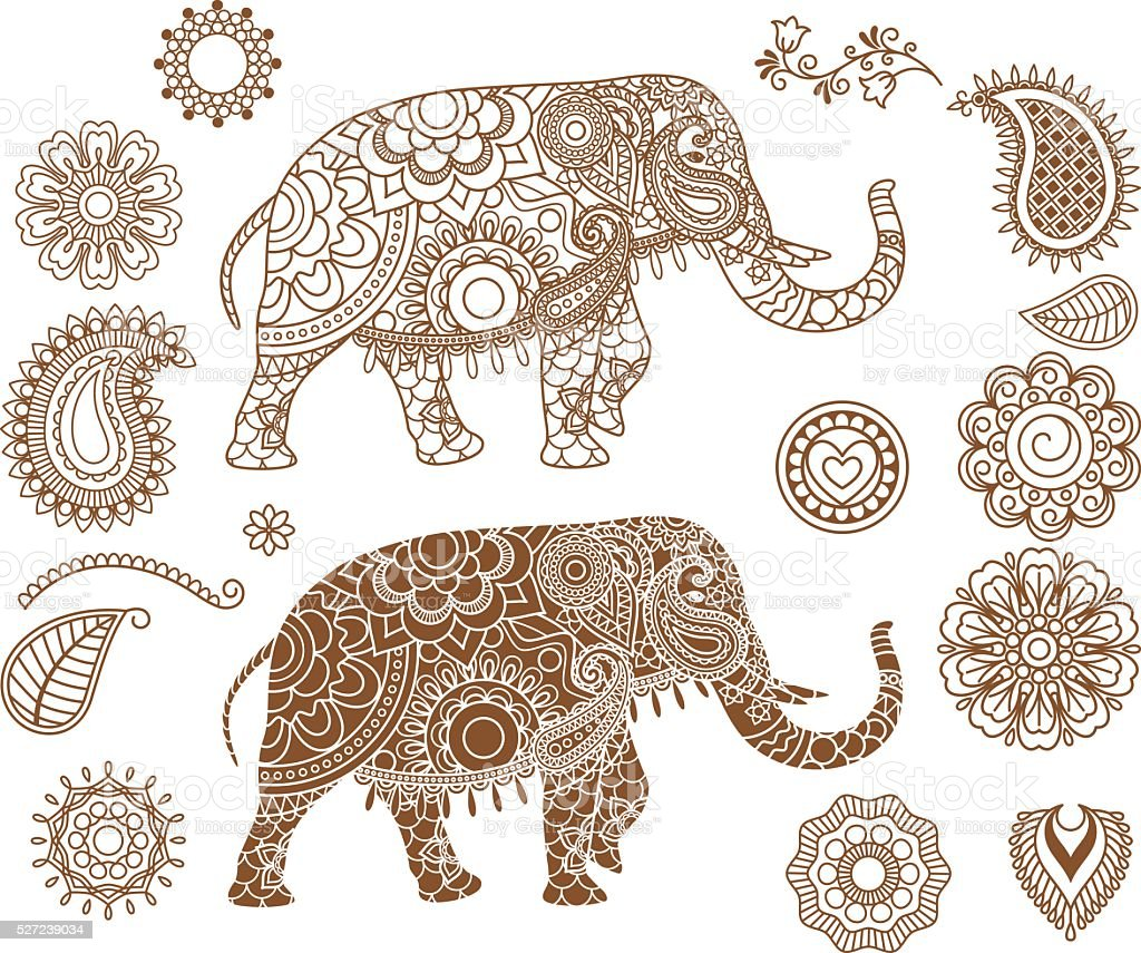 indian elephant with mehendi patterns stock vector art