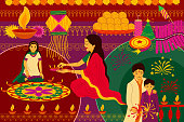 vector illustration of Indian family celebrating Happy Diwali festival background kitsch art India