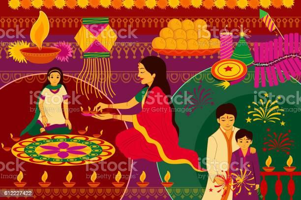 Indian Family Celebrating Happy Diwali Festival Background Kitsch Art India Stock Illustration - Download Image Now