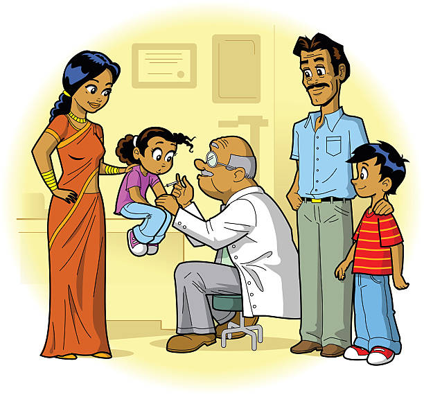 Indian Family Doctor Visit Indian Family Visiting Doctor's Office and Daughter Gets a Shot indian family stock illustrations
