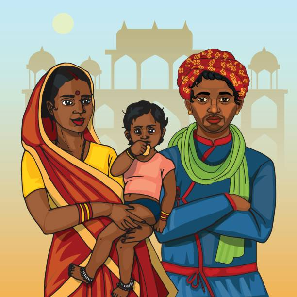 Indian family. Mother, father and baby Indian family in traditional clothes. Mother holding baby, father wearing turban indian family stock illustrations