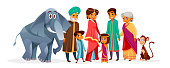 Indian family vector illustration of Hindu people in national clothes. Indian mother woman in saree, father man with boy and girl children or grandparents with elephant cartoon character
