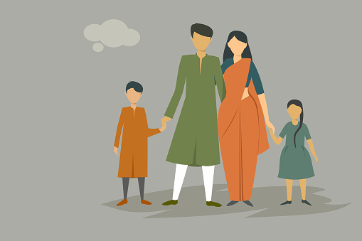 Indian family wearing traditional dress clipart