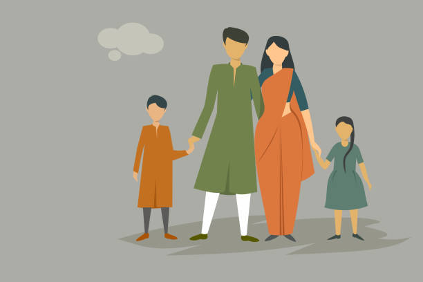Indian family wearing traditional dress Illustration of an Indian family wearing traditional dress indian family stock illustrations