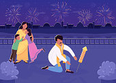 Indian family with fireworks flat color vector illustration. Traditional Divali celebration. Mother and father with kids 2D cartoon characters with nighttime cityscape on background