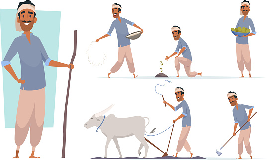 Indian farmer. India village cheering characters working with cow harvesting bangladesh people vector