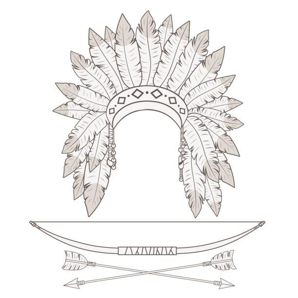 Chapéu de penas indiano, arco e flecha em fundo branco. - ilustração de arte em vetor