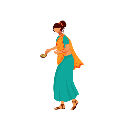 Indian female in traditional dress flat color vector faceless character. Woman wearing sari, girl with cocoa beans isolated cartoon illustration for web graphic design and animation