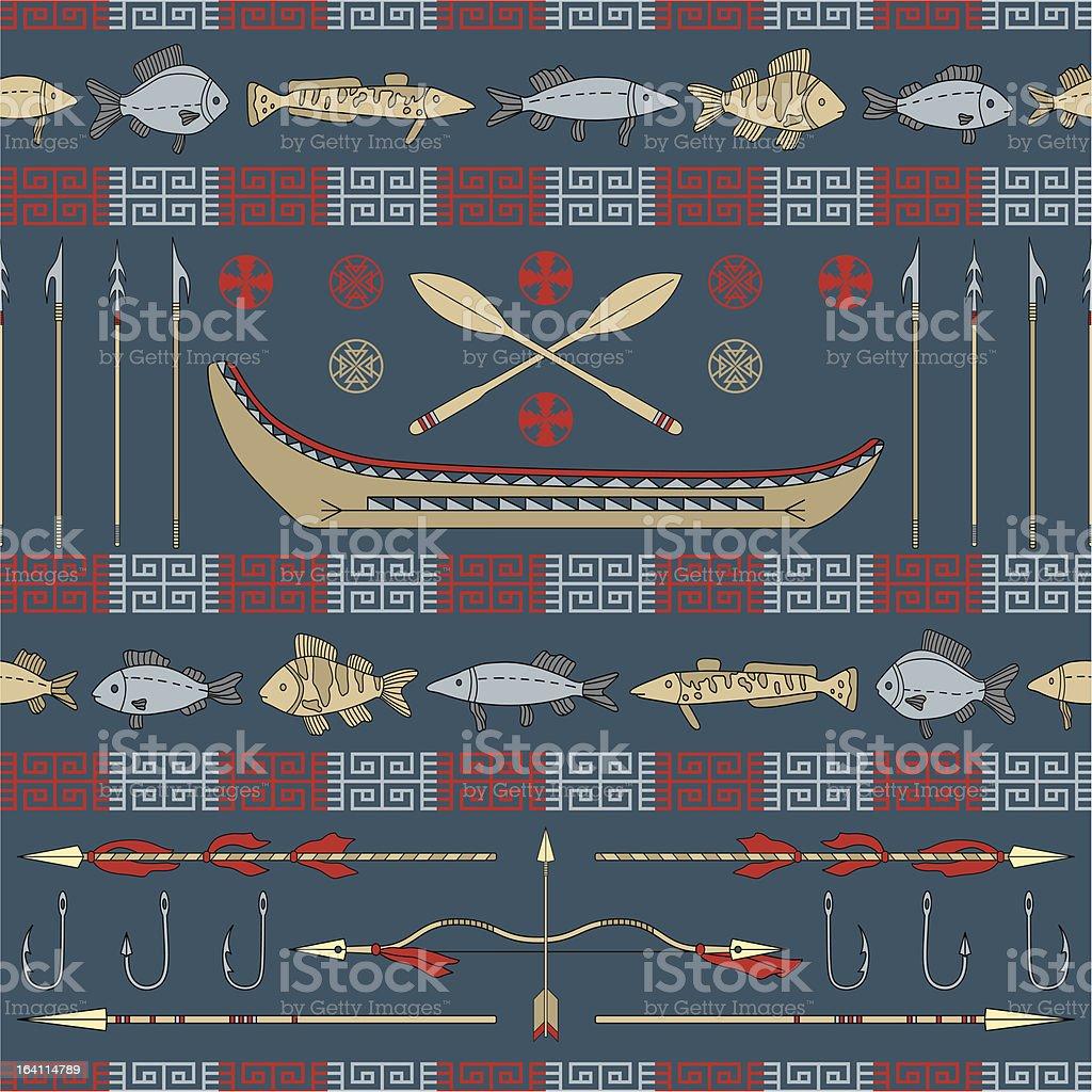 Indian fishing - seamless pattern vector art illustration