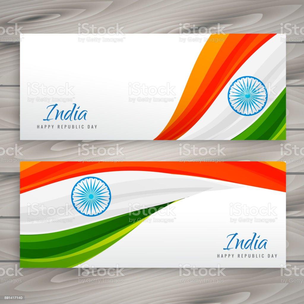 indian flag banner card vector art illustration