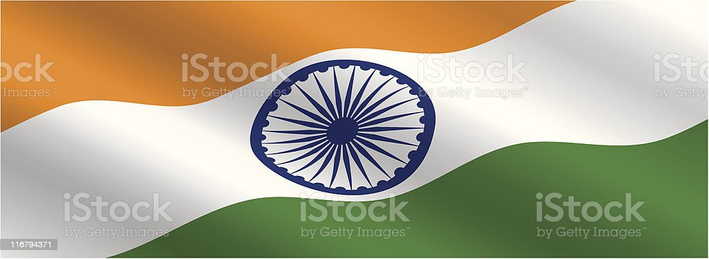 Indian Flag Flowing in the Wind vector art illustration