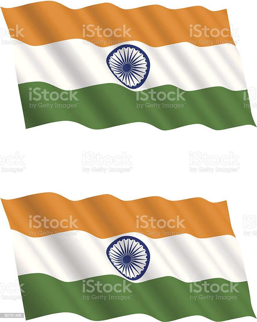 Indian Flag Flying in the Wind vector art illustration