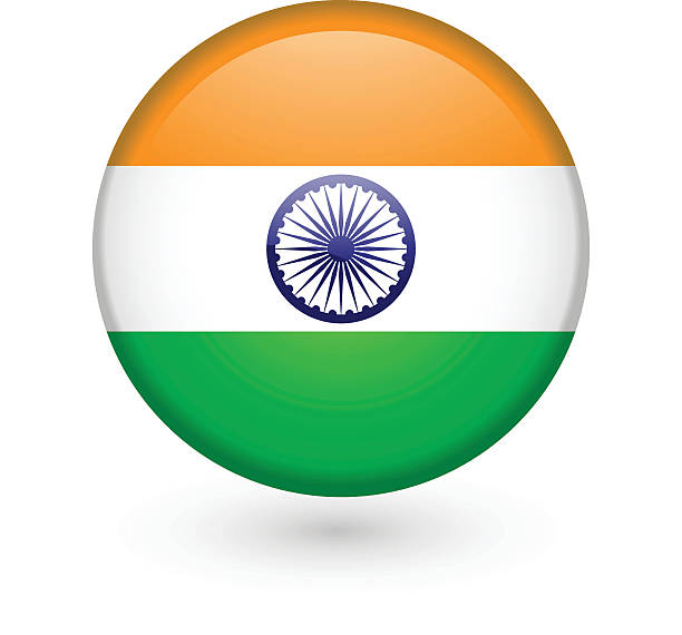 Indian flag vector button vector art illustration