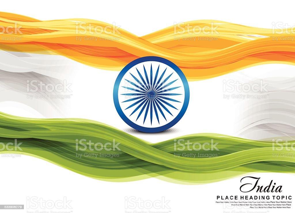 indian flag wave background vector art illustration