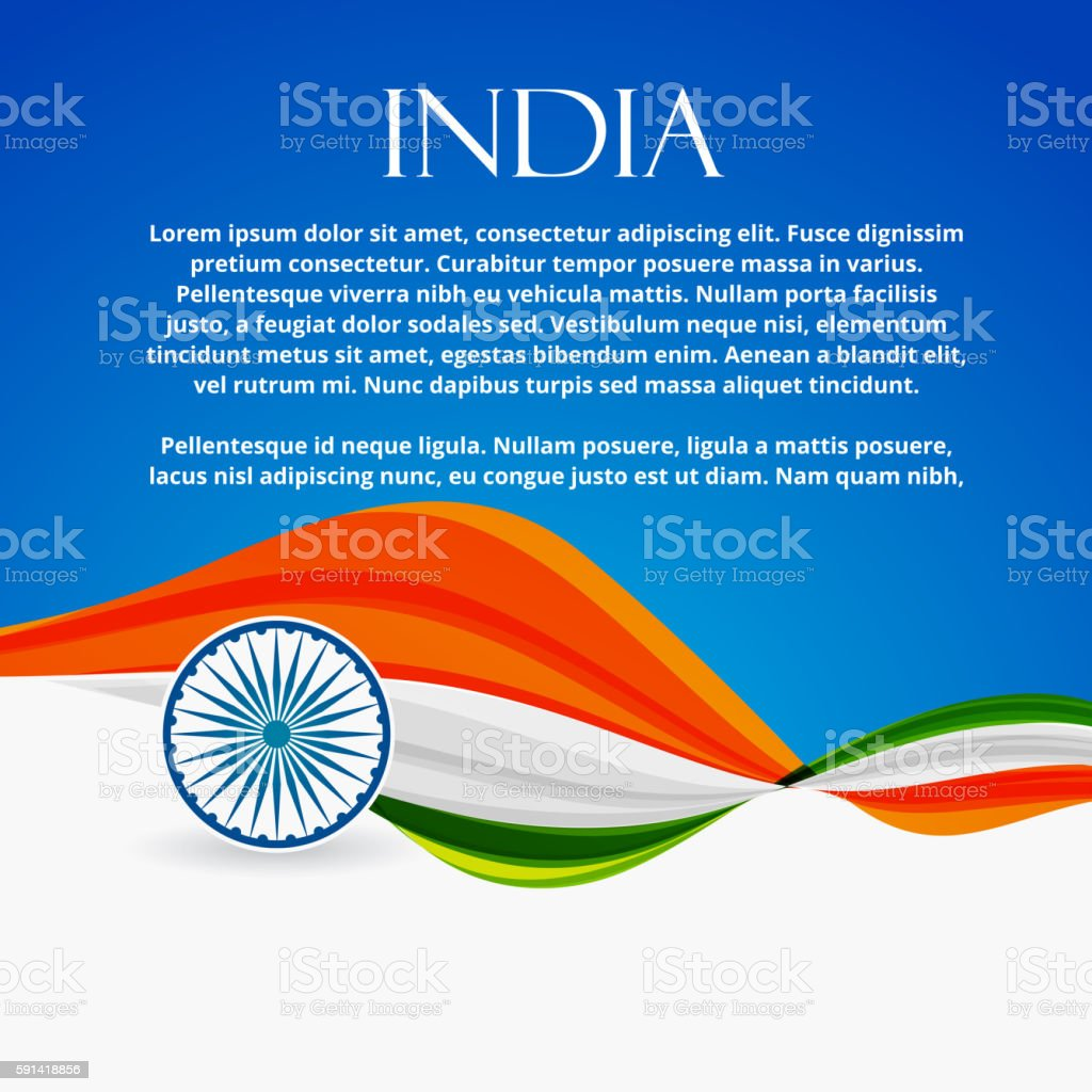 indian flag with wave style vector art illustration