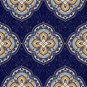 Indian floral mandala medallion paisley pattern vector seamless. Persian arabesque motif print. Oriental vintage flower ethnic ornament. India design for clothing, wallpaper, textile, rug, blanket.