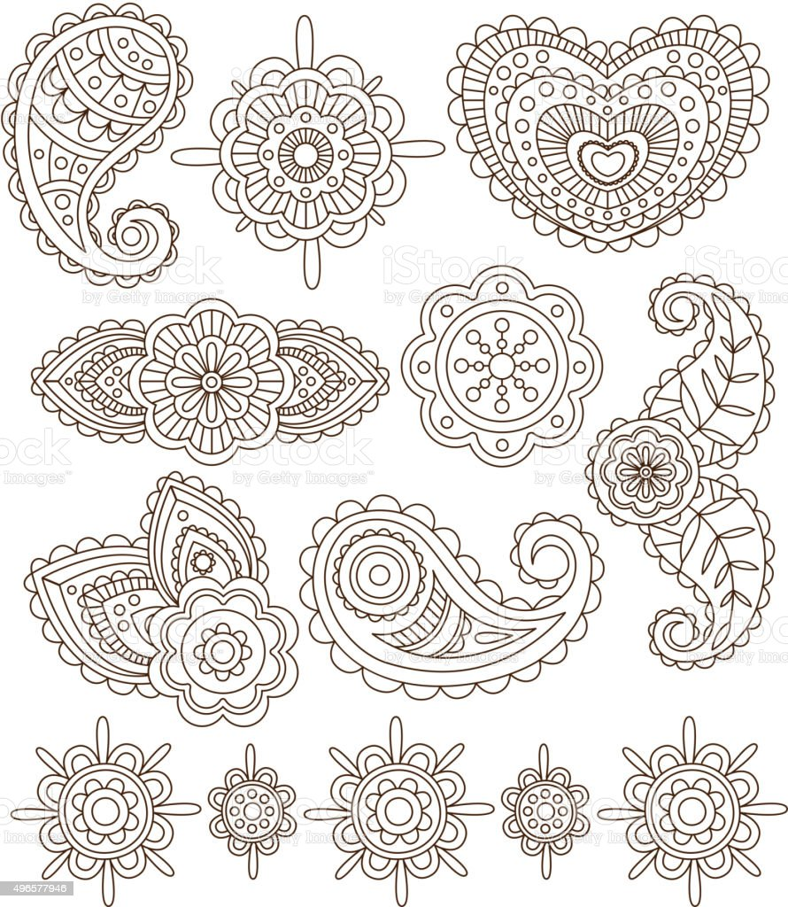 Indian Floral Ornaments Mandala Henna Vector Illustration Set Stock