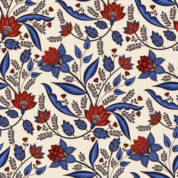 インドの花のペイズリーパターンベクトルシームレスな境界線。装飾チンツ生地やインドネシアのバティックサロンのための熱帯の花のモチーフ。壁紙、織物、毛布、衣類のための東洋の民� - ボタニカル点のイラスト素材/クリップアート素材/マンガ素材/アイコン素材