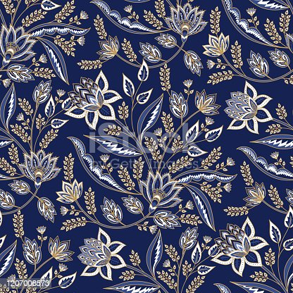 istock Indian floral paisley pattern vector seamless border. Vintage oriental flowers motif for chintz fabric or batik indonesia sarong. Arabic design 1207008573