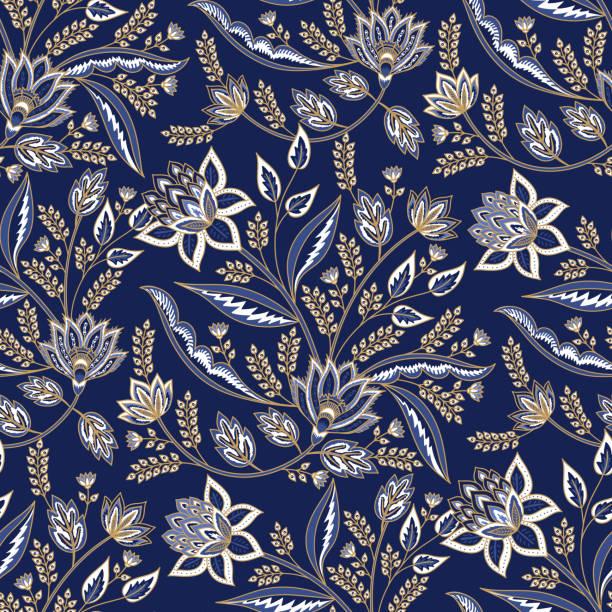 stockillustraties, clipart, cartoons en iconen met indiase florale paisley patroon vector naadloze rand. vintage oosterse bloemen motief voor chintz stof of batik indonesië sarong. arabisch ontwerp - batik