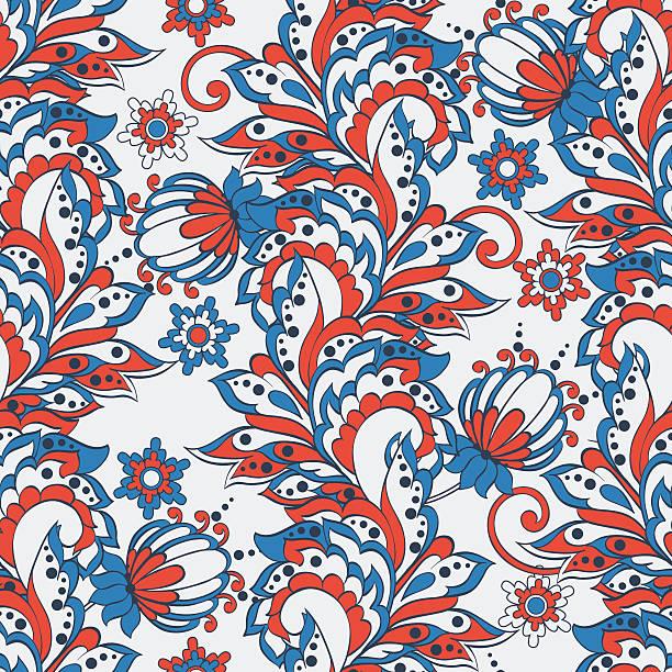indische floral nahtlose muster im batik-look - pashminas stock-grafiken, -clipart, -cartoons und -symbole