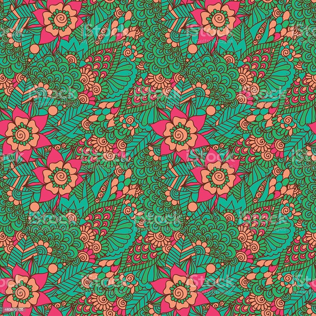 Indian floral seamless pattern vector art illustration