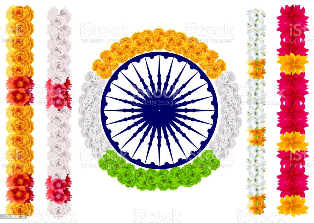 Flower With Indian Flag Hd: Royalty Free Marigold Garlands Silhouette Clip Art, Vector