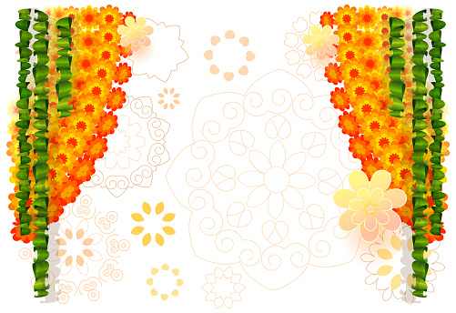 Indian flower garland mala with mango leaves. Festive holiday ornament for ugadi background template greeting card